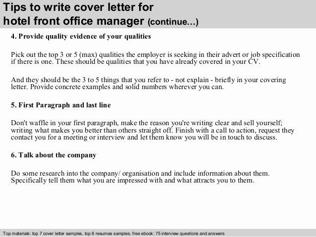 Front Desk Cover Letter Elegant Hotel Front Office Manager Cover Letter