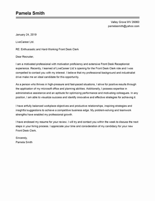 Front Desk Cover Letter Inspirational Cover Letter Examples Put Your Best Foot forward