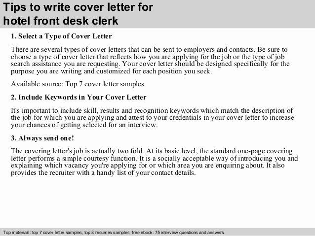 Front Desk Cover Letter Inspirational Hotel Front Desk Clerk Cover Letter