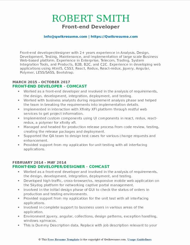 Front End Developer Resume Template Beautiful Front End Developer Resume Samples