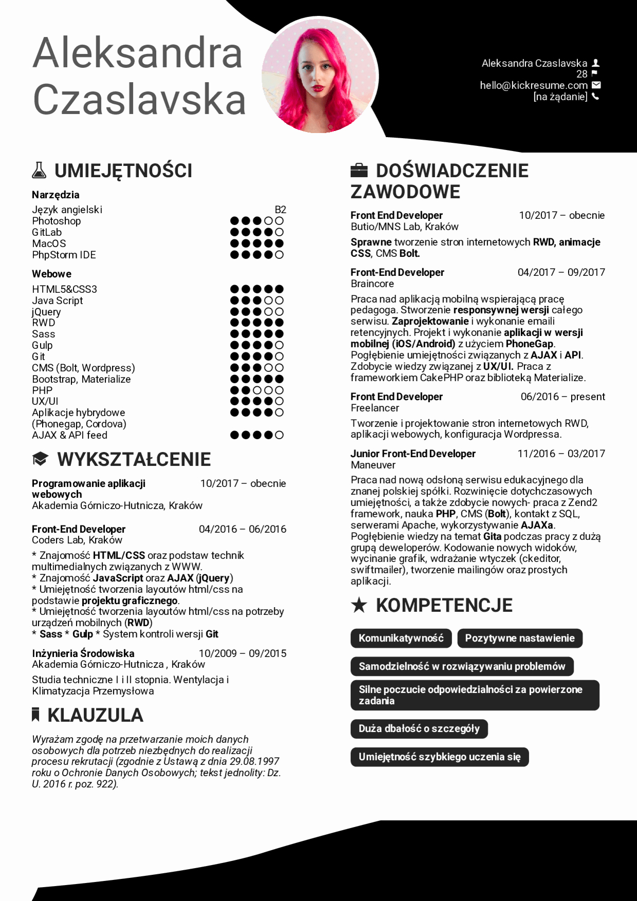 Front End Developer Resume Template Fresh Resume Examples by Real People Front End Developer Resume Example [polish]
