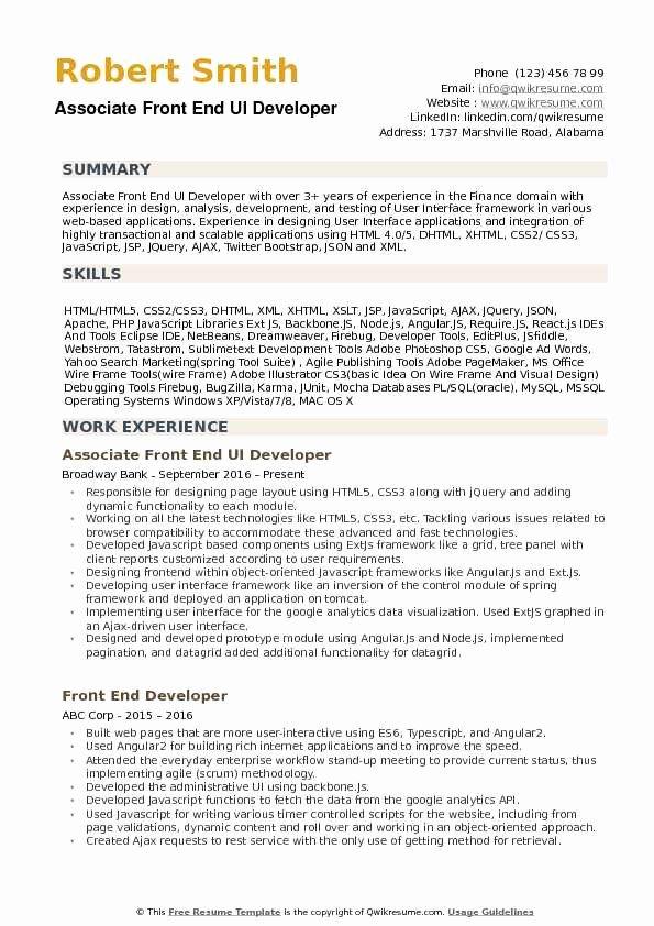 Front End Developer Resume Template Lovely Front End Ui Developer Resume Samples