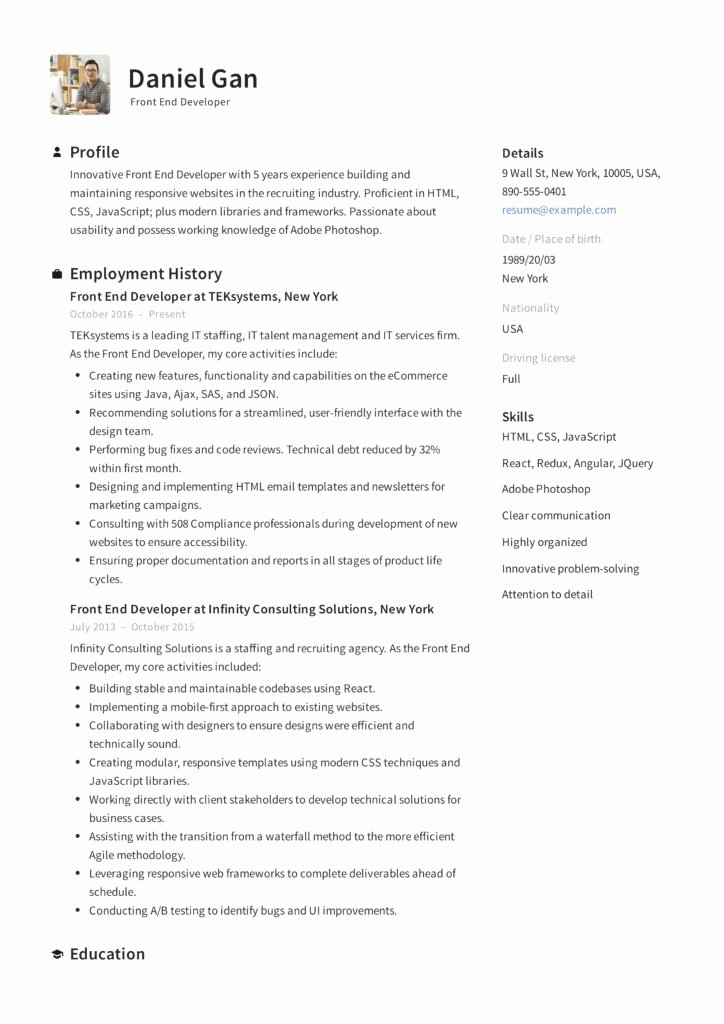 Front End Developer Resume Template Lovely Guide Front End Developer Resume [ 12 Samples ] Pdf
