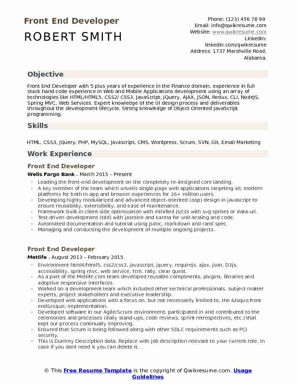 Front End Developer Resume Template Luxury Front End Developer Resume Samples
