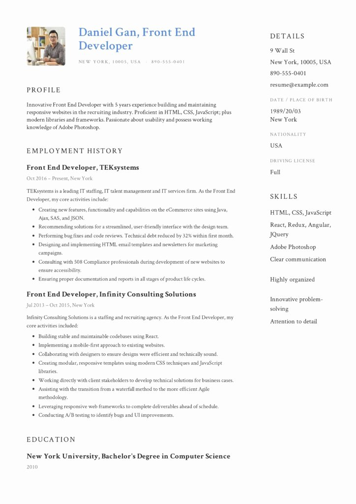 Front End Developer Resume Template Luxury Guide Front End Developer Resume [ 12 Samples ] Pdf