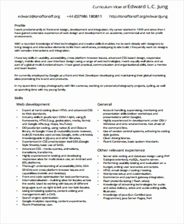 Front End Developer Resume Template Luxury Sample Front End Developer Resume 7 Examples In Word Pdf