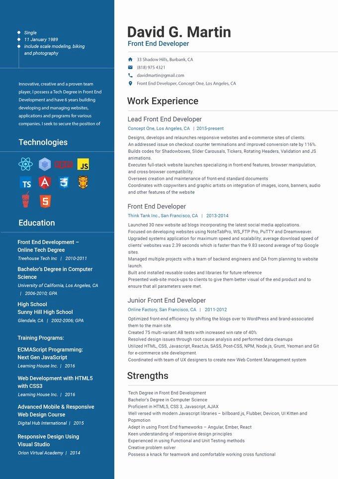 Front End Developer Resume Template Unique Front End Web Developer Resume Front End Developer Resume Example