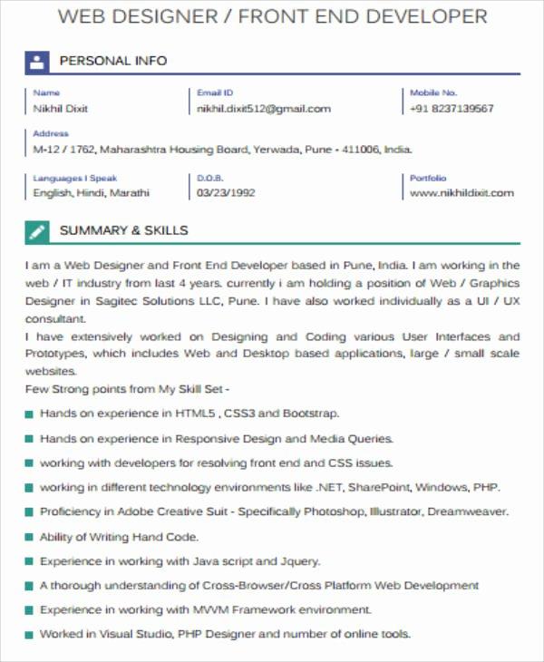 Front End Web Developer Resume Awesome Sample Front End Developer Resume 7 Examples In Word Pdf