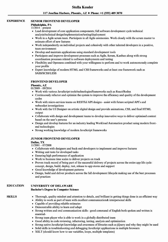 Front End Web Developer Resume Inspirational Frontend Developer Resume Samples