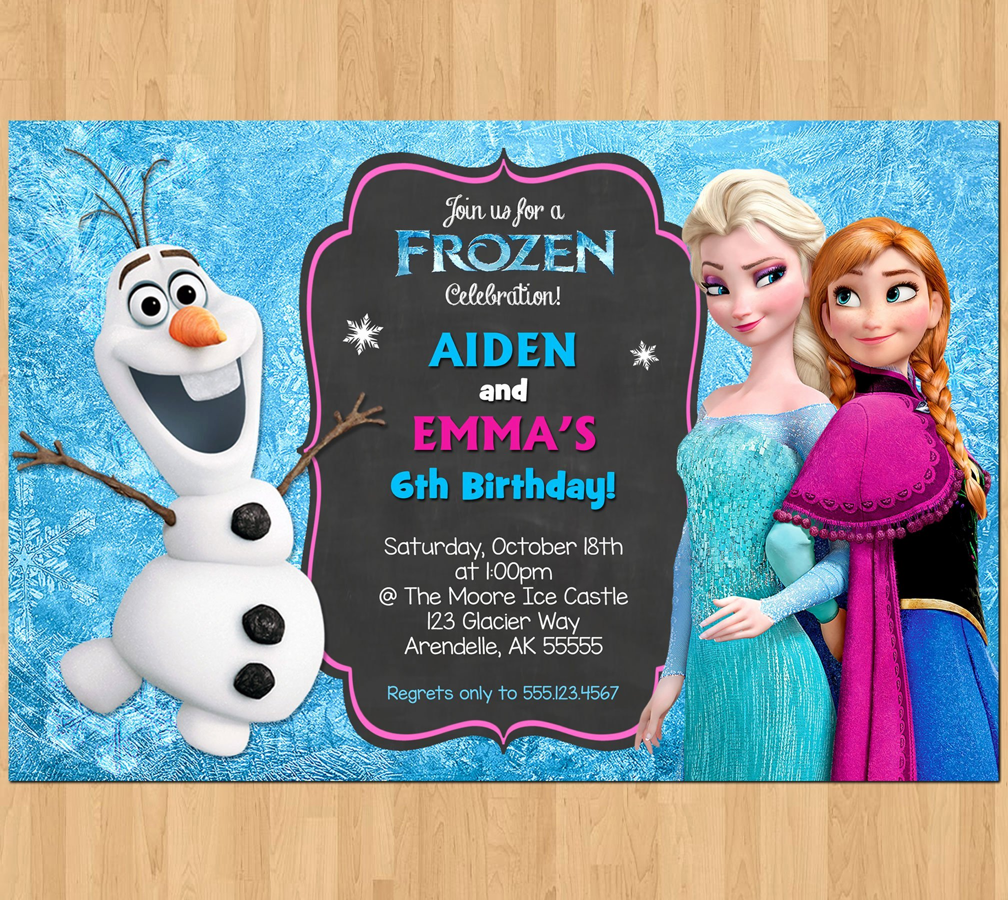 Frozen Bday Party Invitations Unique Sibling Birthday Invitation Frozen Invitation Olaf Elsa Anna Double