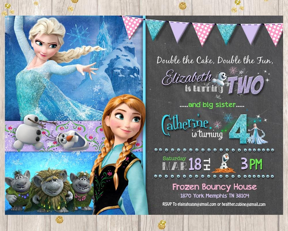 Frozen Bday Party Invites Awesome Frozen Sibling Birthday Invitation Princess Elsa Anna Joint Birthday Invite Girls Invitation