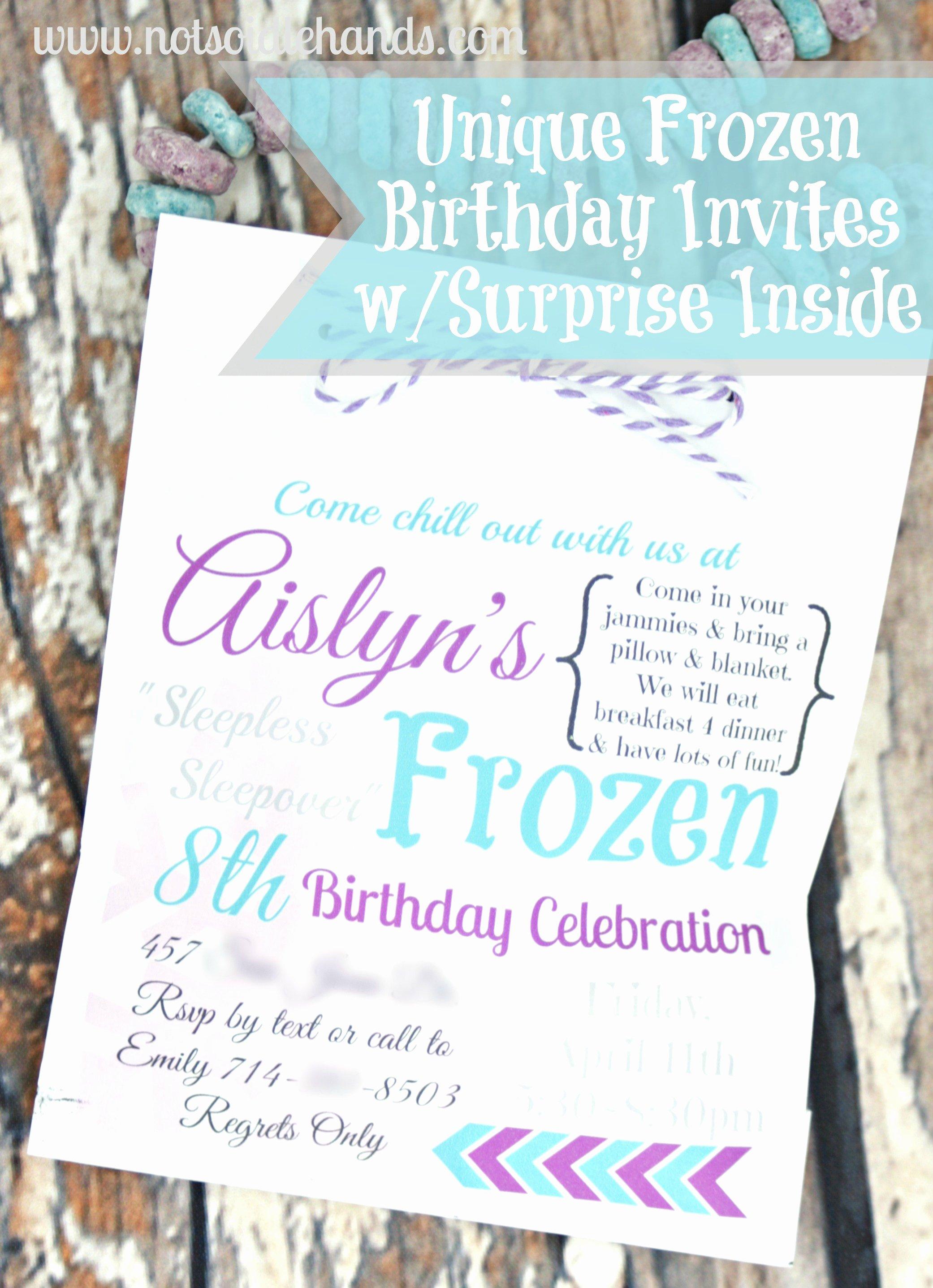 Frozen Bday Party Invites Fresh Unique Frozen Birthday Party Invites with Treat Inside Party Part 2