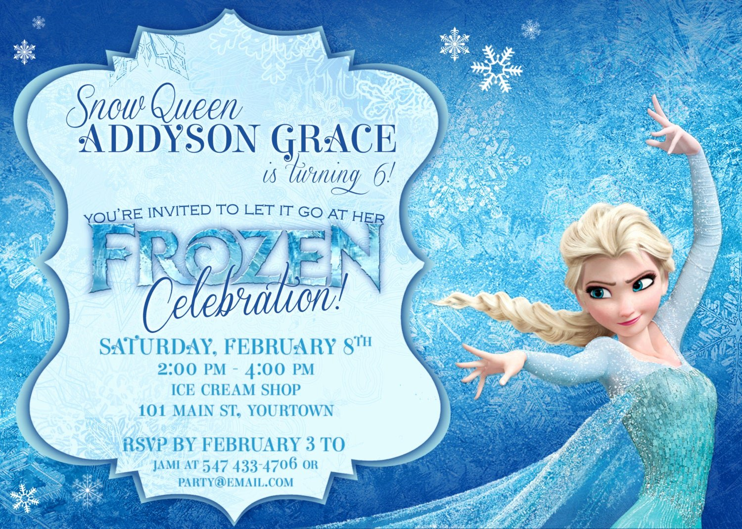 frozen themed party invitations