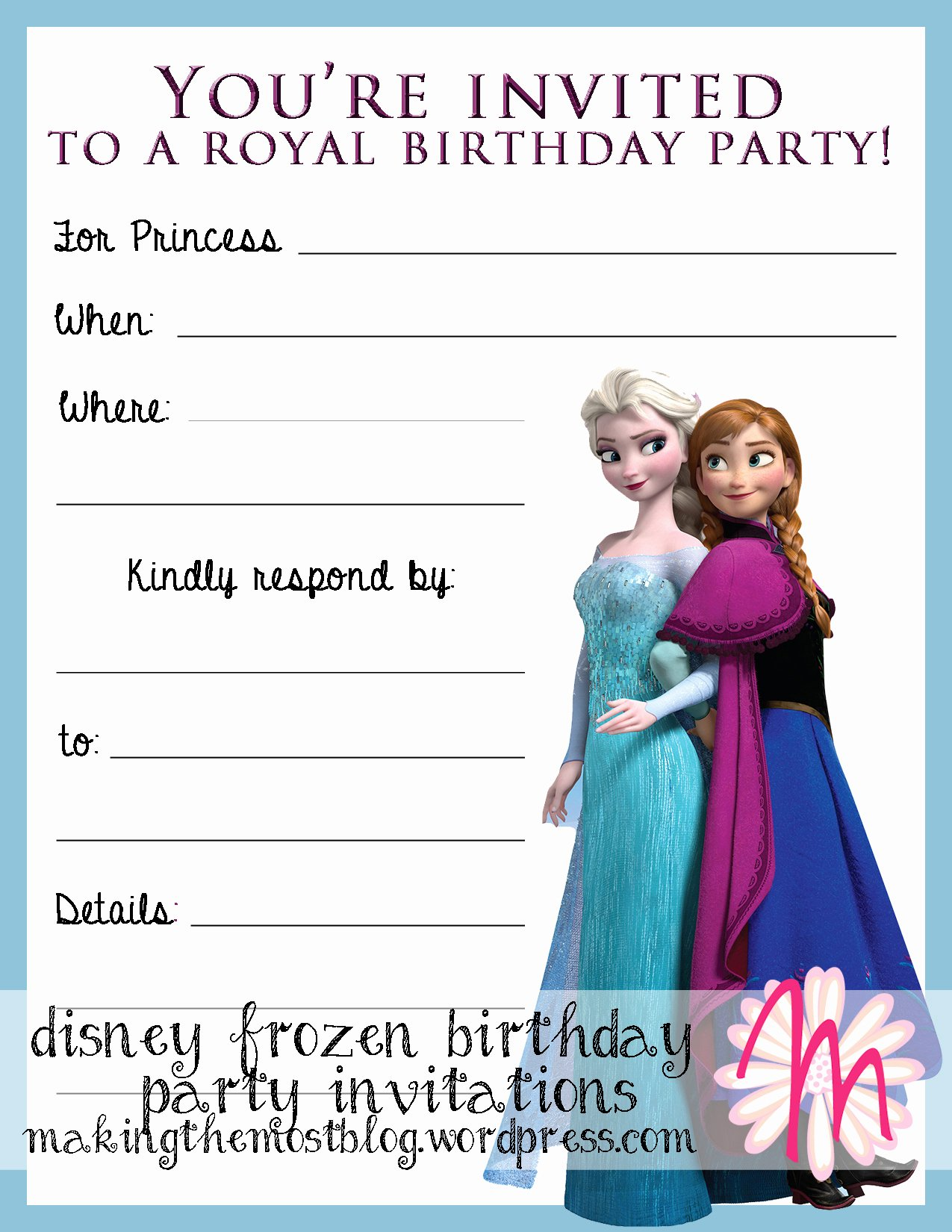 Frozen Bday Party Invites New Printable
