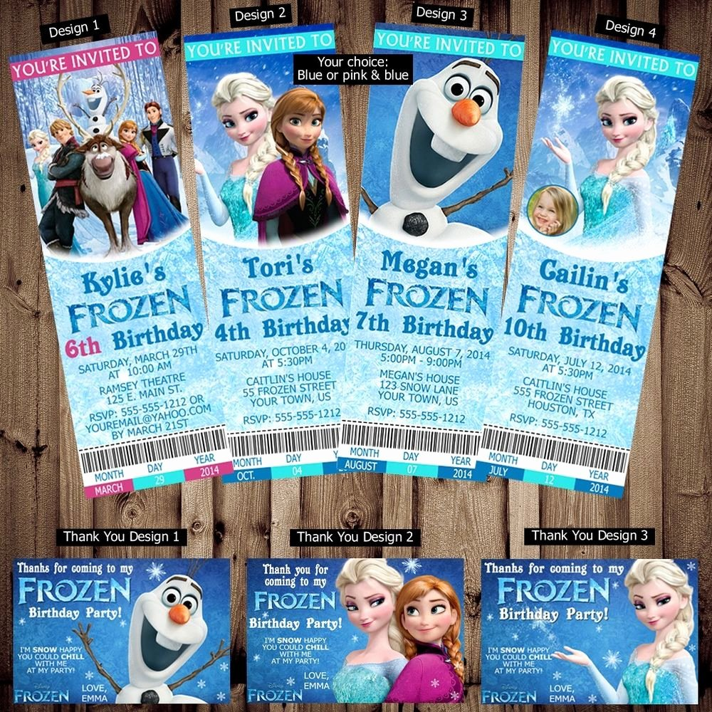 Frozen Birthday Invitations Cards Elegant Printed Personalized Disney Frozen Birthday Ticket Invitations Thank You