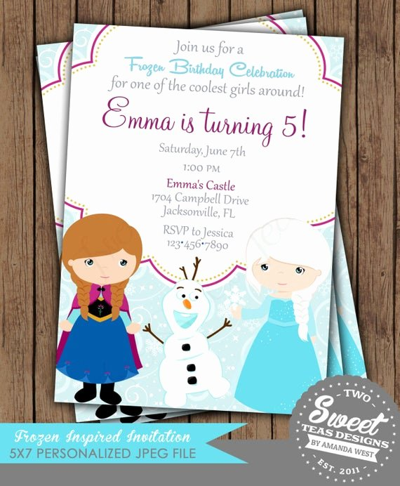 Frozen Birthday Invitations Cards Fresh Frozen Invitation Princess Anna Elsa Disney Inspired by 2sweetteas