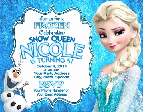 Frozen Birthday Invitations Cards Lovely Frozen Elsa Olaf Birthday Party Invitations Personalized