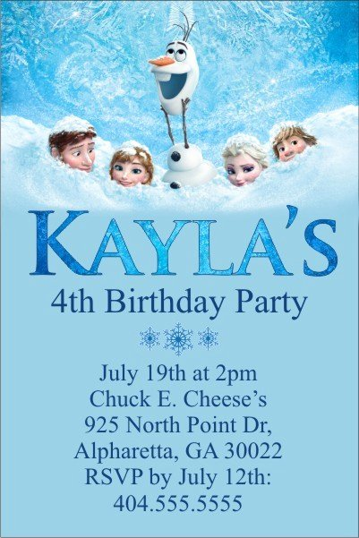 Frozen Birthday Invitations Cards Lovely Frozen Movie Invitation Personalized Party Invites