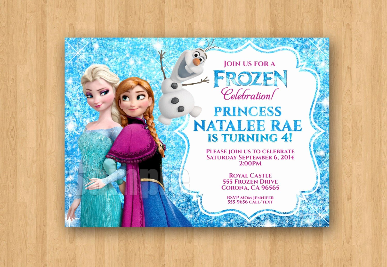 Frozen Birthday Invitations Wording Awesome Frozen Anna Elsa Movie Birthday Party Personalized Invitation