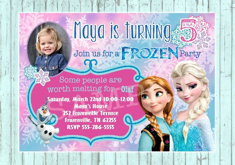 frozen birthday invitation custom design