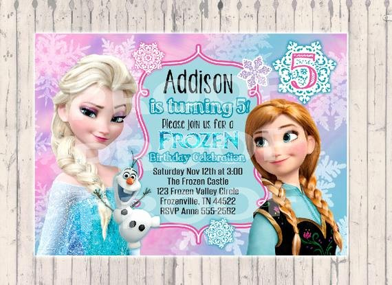 Frozen Birthday Invitations Wording Unique Frozen Birthday Invitation Digital Copy by Poshpaisleyboutique