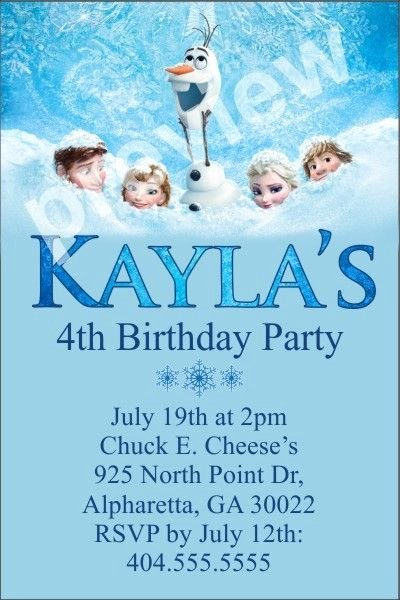 Frozen Birthday Invites Template Elegant 24 Best Kids Party Invitations Images On Pinterest