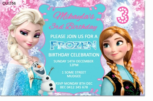 Frozen Birthday Invites Template Lovely Cu1156 Frozen Birthday Invitation Template Girls themed Birthday Invitations Birthday