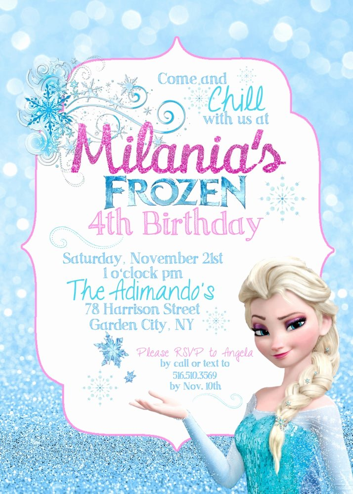 Frozen Birthday Party Invitations Best Of Paperfoxprints — Frozen Elsa Birthday Invitation Elsa Snowflakes Blue Pink Glitter Sparkle