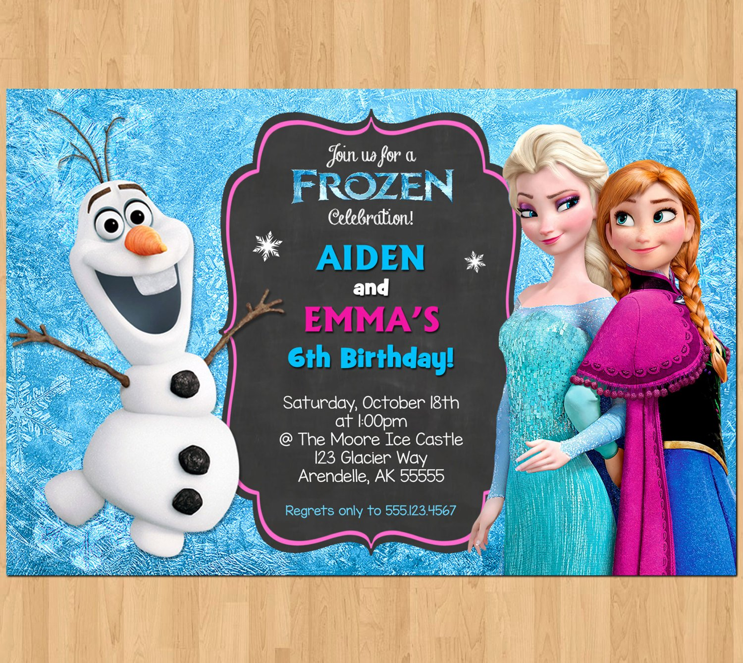 Frozen Birthday Party Invitations Elegant Sibling Birthday Invitation Frozen Invitation Olaf Elsa Anna