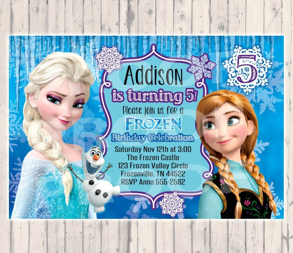 Frozen Birthday Party Invitations Luxury Frozen Birthday Invitation Digital Copy by Poshpaisleyboutique