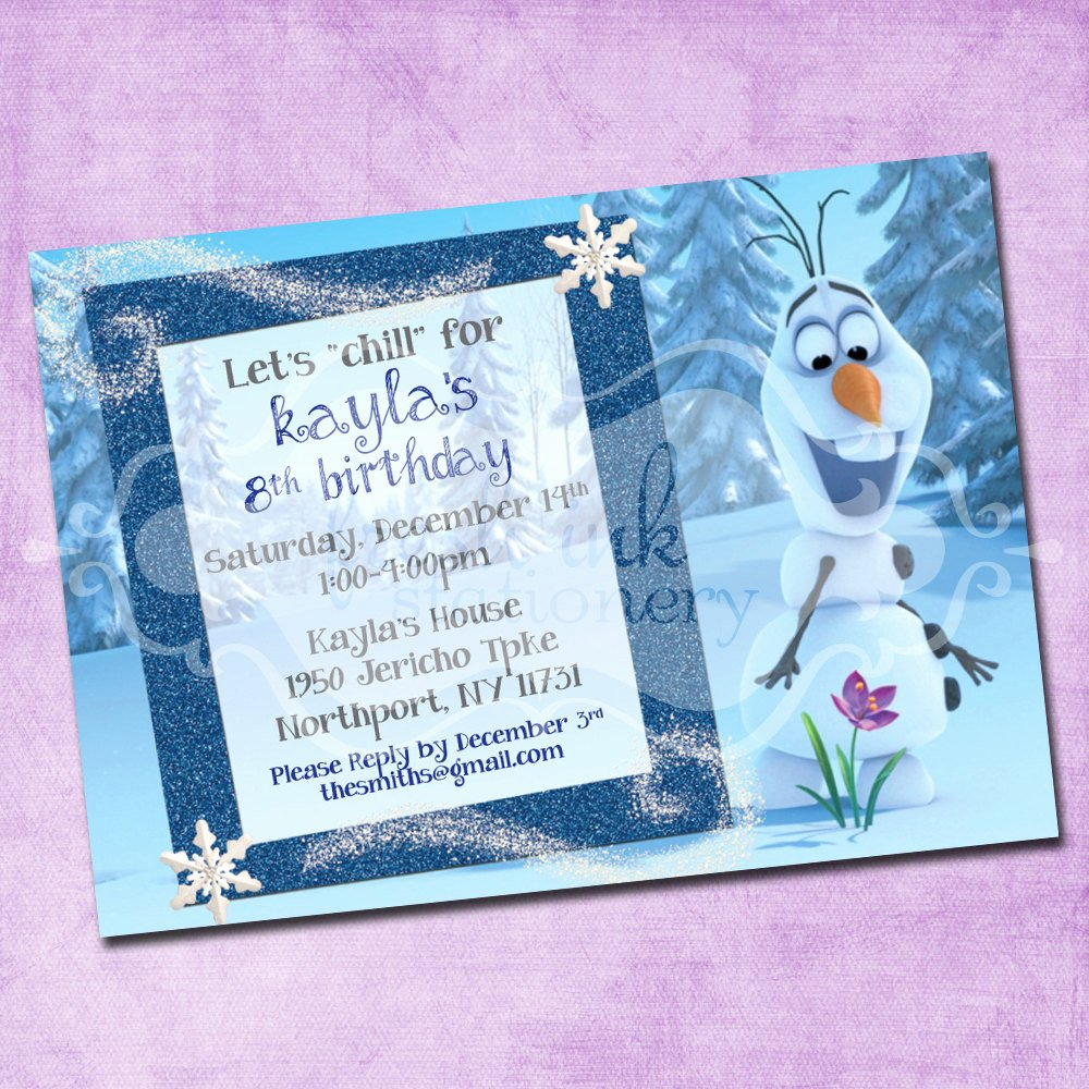 Frozen Birthday Party Invitations New Frozen Olaf Birthday Invitation