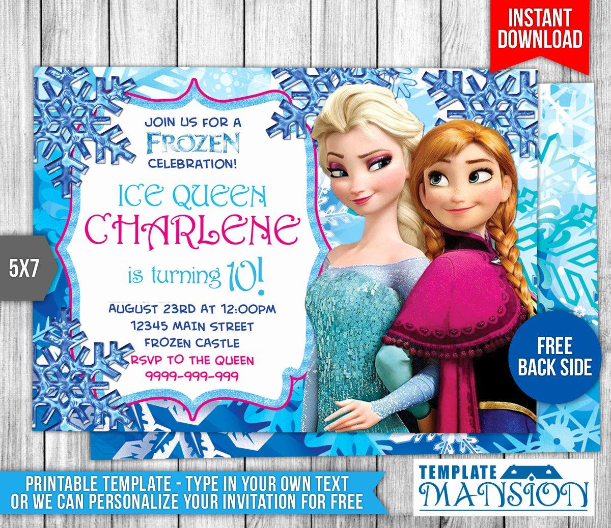 Frozen Invitation Template Free Download Best Of Disney Frozen Birthday Invitation by Templatemansion On