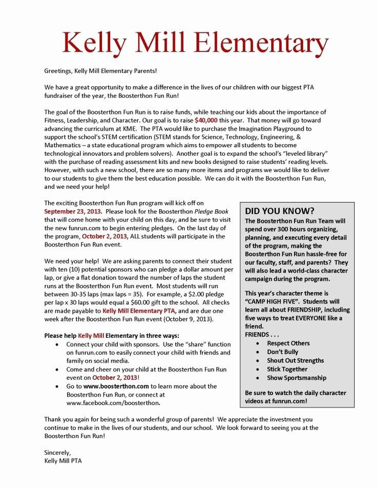 Fundraising Letter to Parents Elegant Fundraisers Kelly Mill Pta Boosterthon Fun Run Ptafundraising Ptofundraisers