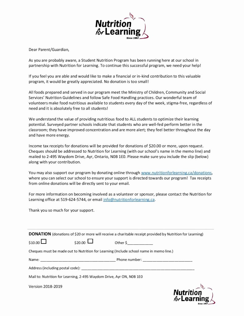 Fundraising Letter to Parents Lovely Donation Request Letter for Parents – Program Coordinator Resources