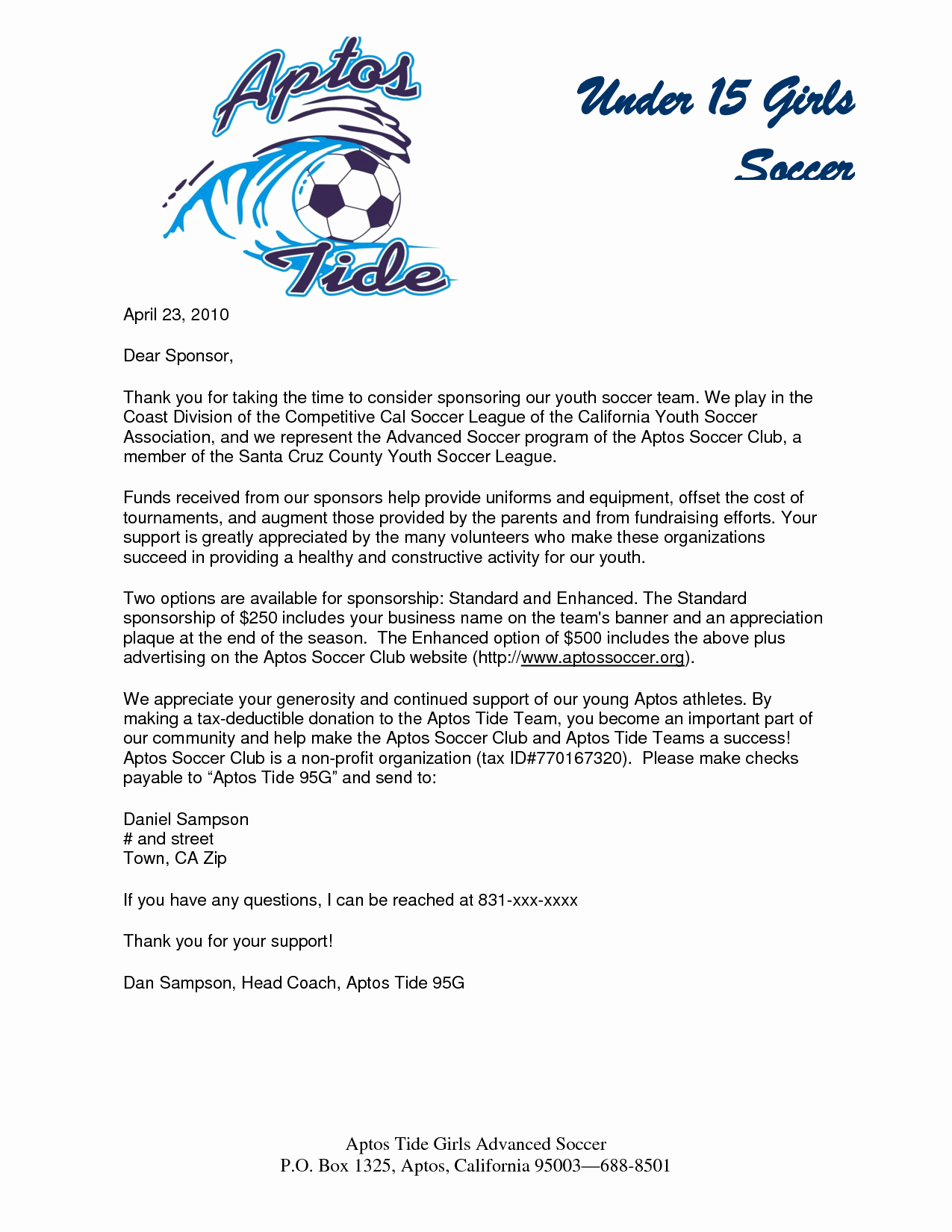 Fundraising Letter to Parents Lovely Parent Thank You Letter From Youth athletes Sponsorship Letter Sample