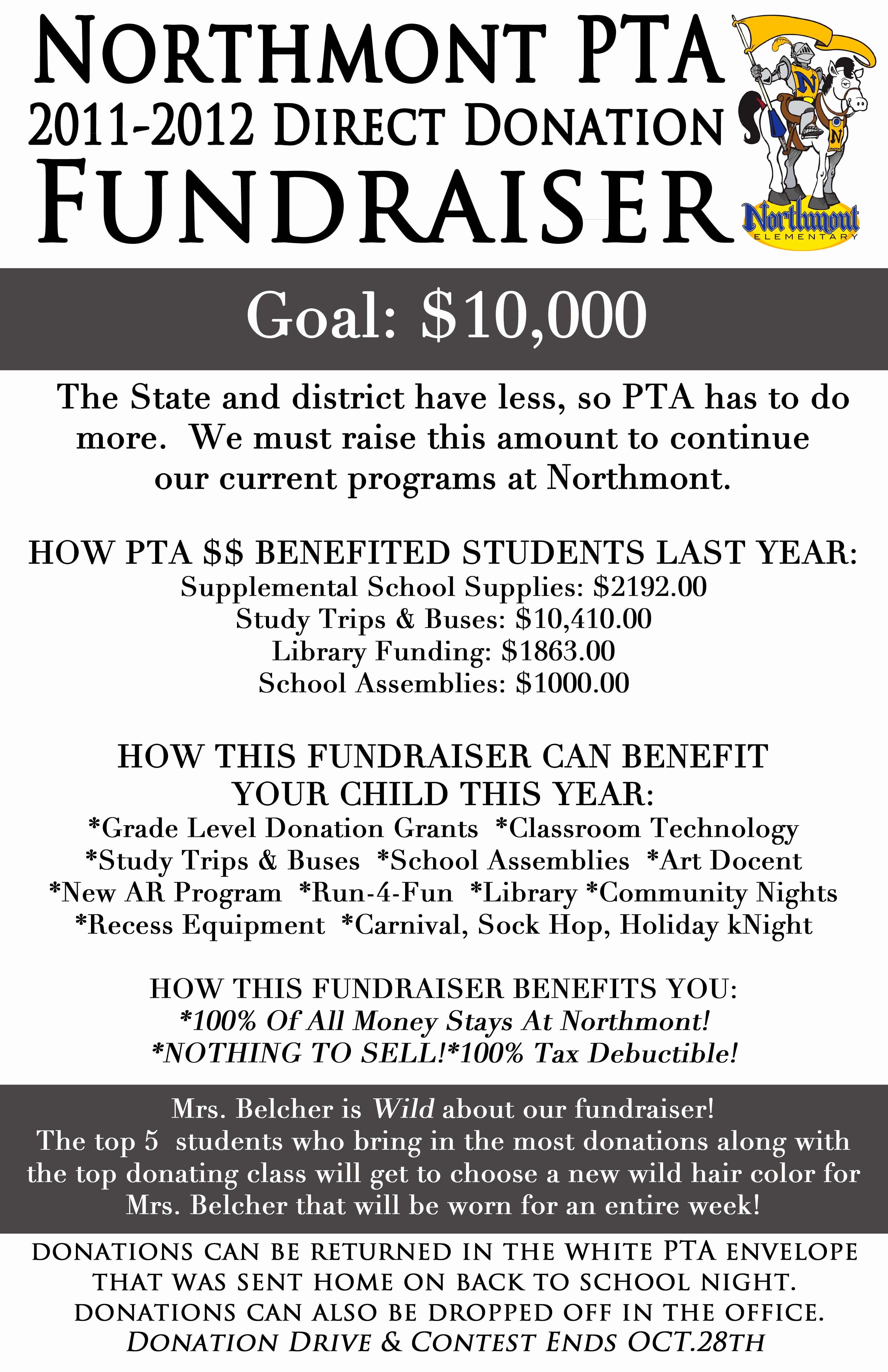 Fundraising Letter to Parents Luxury northmont Elementary Pta Direct Donation Fundraiser Pta Fundraiser