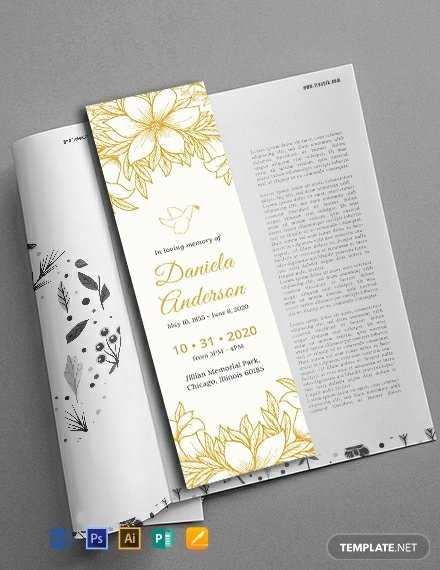 Funeral Bookmarks Template Free Awesome Free Memorial Bookmark Template Download 14 Bookmarks In Psd Illustrator Word Publisher