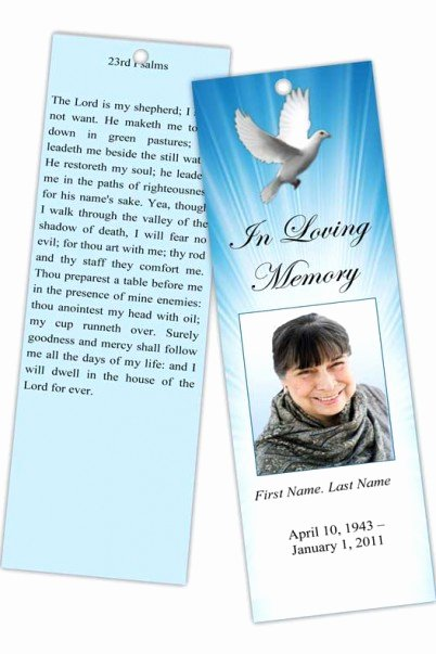 Funeral Bookmarks Template Free Awesome Funeral Program Templates Memorial Bookmark Template