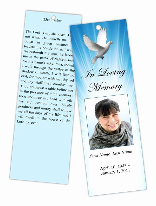 Funeral Bookmarks Template Free Beautiful Memorial Bookmark Templates Funeral Bookmarks