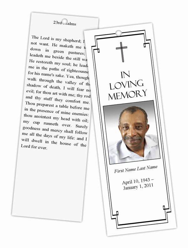 Funeral Bookmarks Template Free Elegant Classic Cross Bookmark Template Elegant Memorials