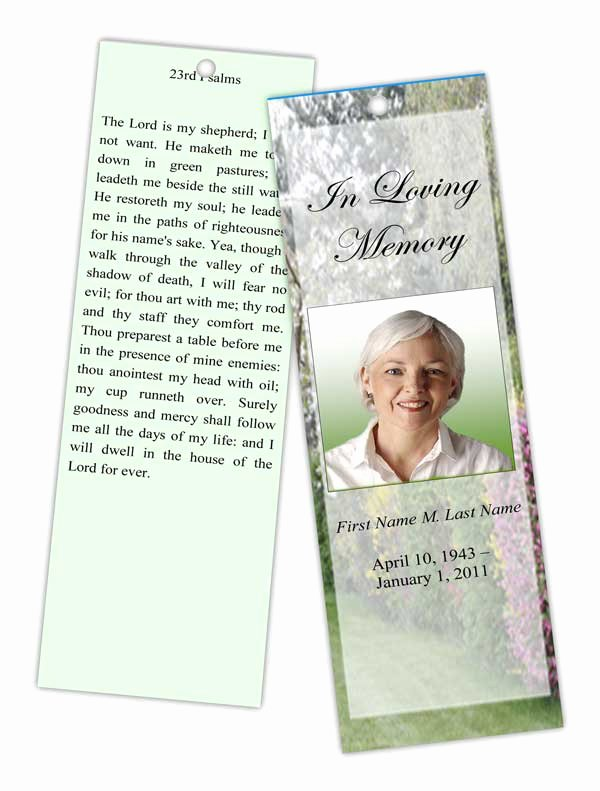 Funeral Bookmarks Template Free Luxury Spring Garden Bookmark Template Elegant Memorials
