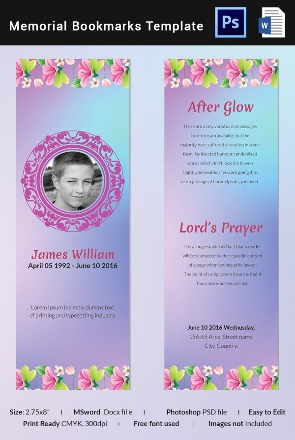 Funeral Bookmarks Template Free New 10 Memorial Bookmarks Templates Psd Ai Eps