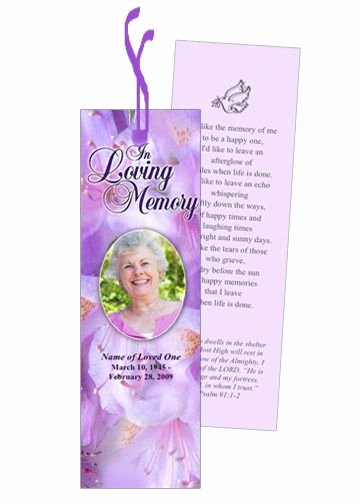 Funeral Bookmarks Template Free Unique Memorial Bookmarks Lavender Memorial Bookmark Template with Preprinted Title
