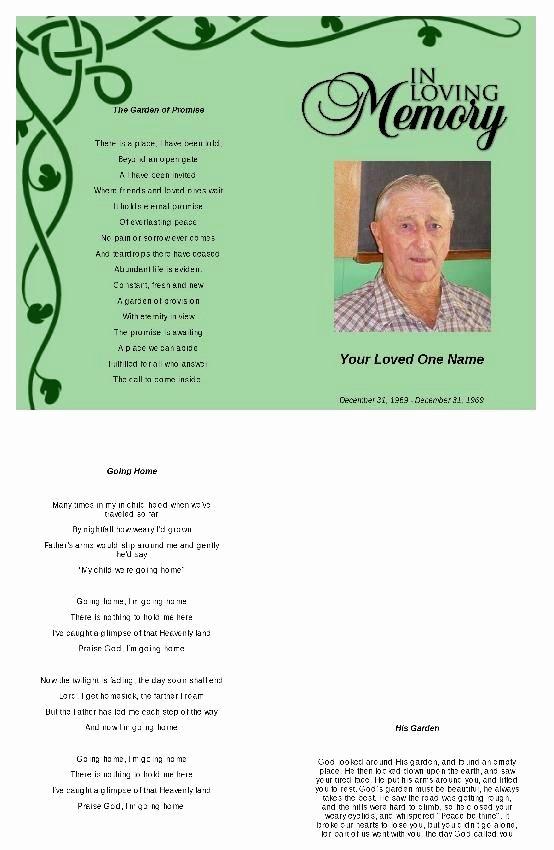 Funeral Mass Program Template Beautiful Irish Green Funeral Program Template Funeral Program Template
