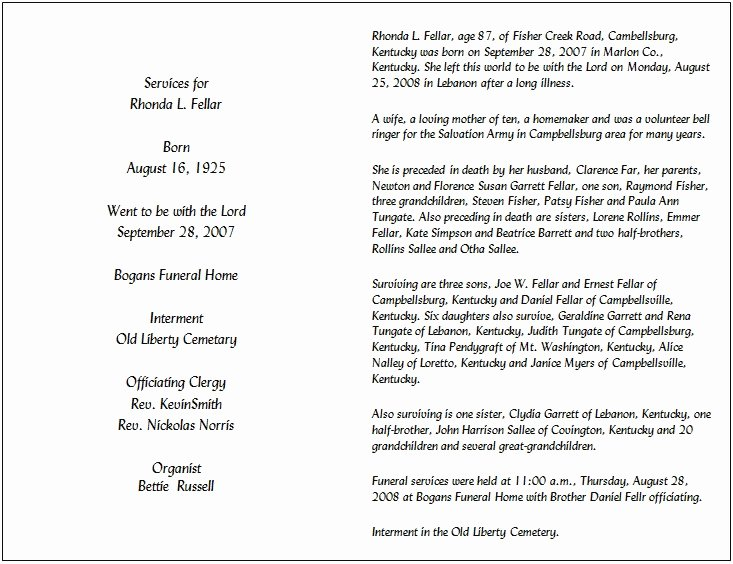 Funeral Mass Program Template Best Of 29 Of Catholic Obituary Template