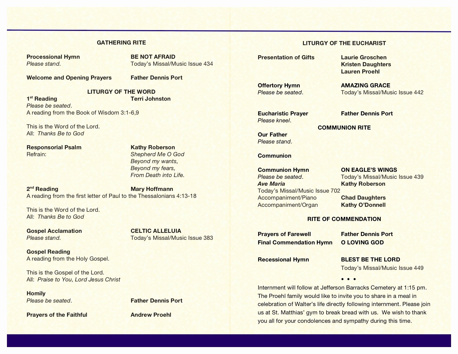 Funeral Mass Program Template Best Of Wally's Funeral Mass Booklet