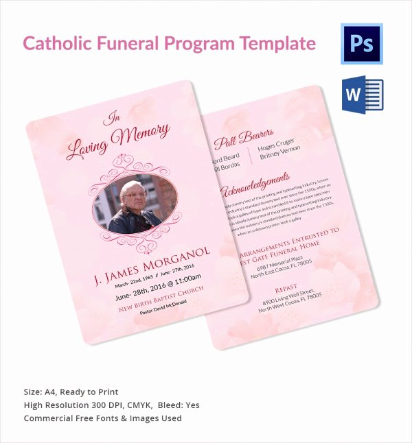 Funeral Mass Program Template Elegant Catholic Funeral Program