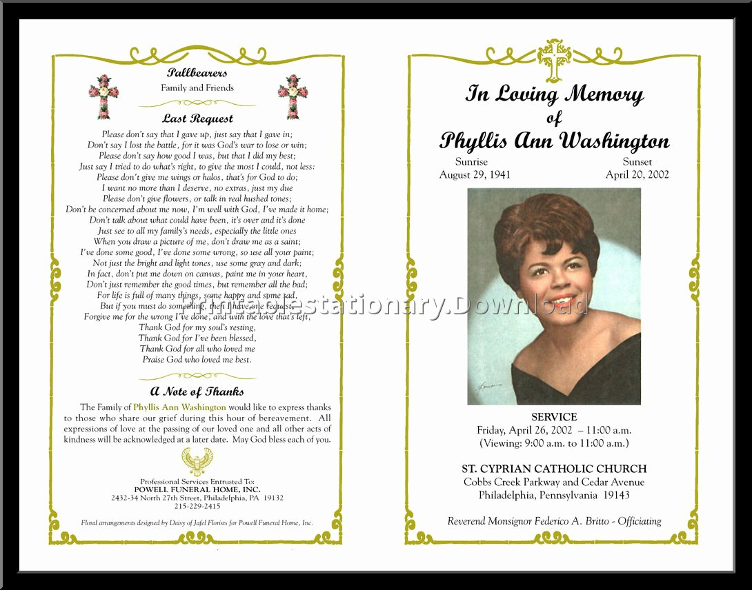 Funeral Mass Program Template Elegant Free Editable Funeral Templates