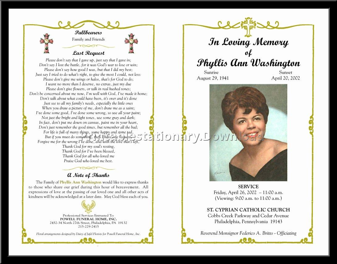 Funeral Mass Program Template Elegant Free Editable Funeral Templates