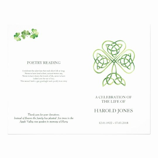 Funeral Mass Program Template Inspirational Irish Catholic Memorial Mass Program Funeral Flyer